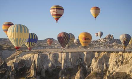 Up and away … a hot-air balloon ride over Cappadocia, Turkey.
