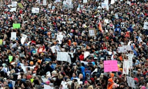 Demonstrators attend a March for Our Lives rally in support of gun control.