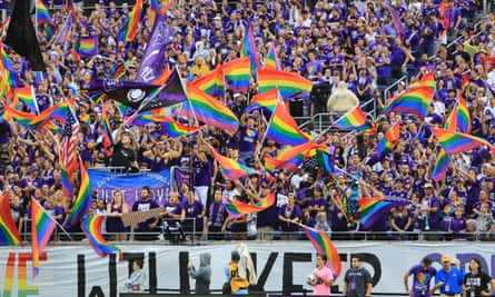 Orlando City SC wave rainbow flags in solidarity with the LGBT community