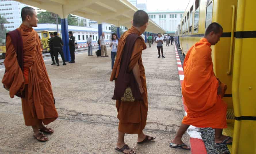 Buddhist monks board.