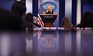 Kayleigh McEnany holds a press briefing in Washington on Monday.