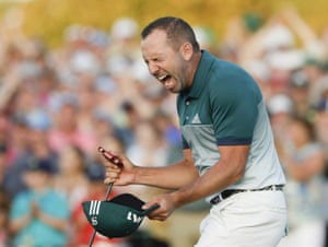 Sergio Garcia reacts after making his birdie putt on the 18th to win the 2017 Masters