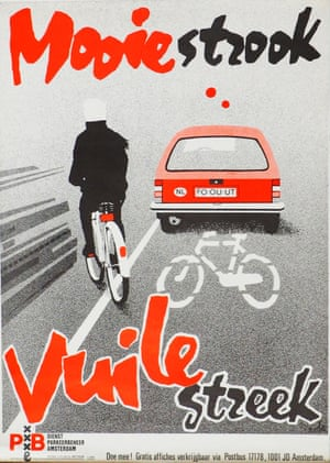A poster against illegal parking in bike lanes from the 1980s