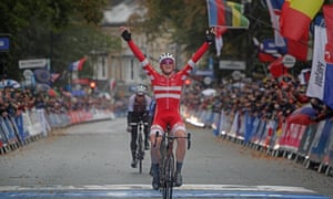 Danish cyclist Mads Pedersen crossing the finishing line in the Road World Championships 2019.