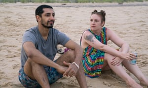 Lena Dunham with guest star Riz Ahmed in Girls series six.