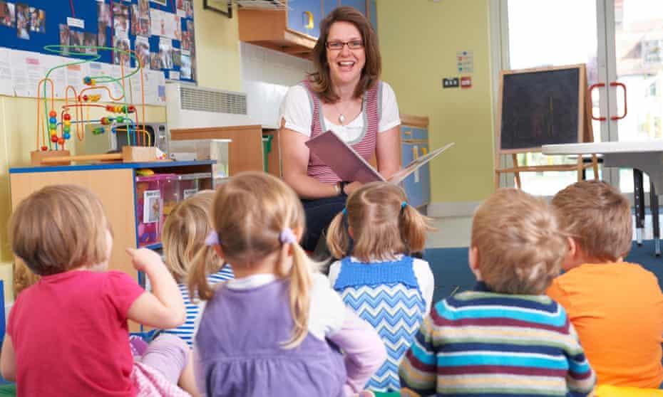 Group Of Pre School Children Listening To Teacher Reading