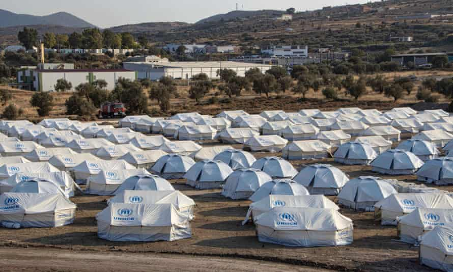 The Mavrovouni refugee camp in Lesbos