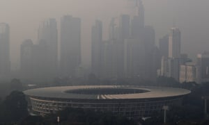 Smog shrouds Jakarta, which was ranked as the most polluted city in the world on several days in June.