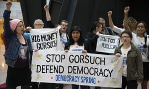 Protesters rally against Neil Gorsuch.