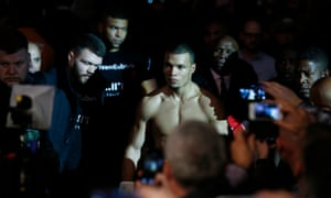Chris Eubank Jr on his way to the ring at the O2.