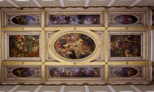 Peter Paul Rubens 1629. Ceiling at the Banqueting House, the only surviving part of the royal residence at Whitehall Palace, London, which was otherwise destroyed by fire in 1698. The central panel, The Apotheosis of James I, sees the king raised to the status of a deity. He is accompanied by an eagle, symbol ofJupiter, king of the mythological pagan gods, and is coaxed gently into the realms of immortality by a young woman in yellow whois the figure of Justice