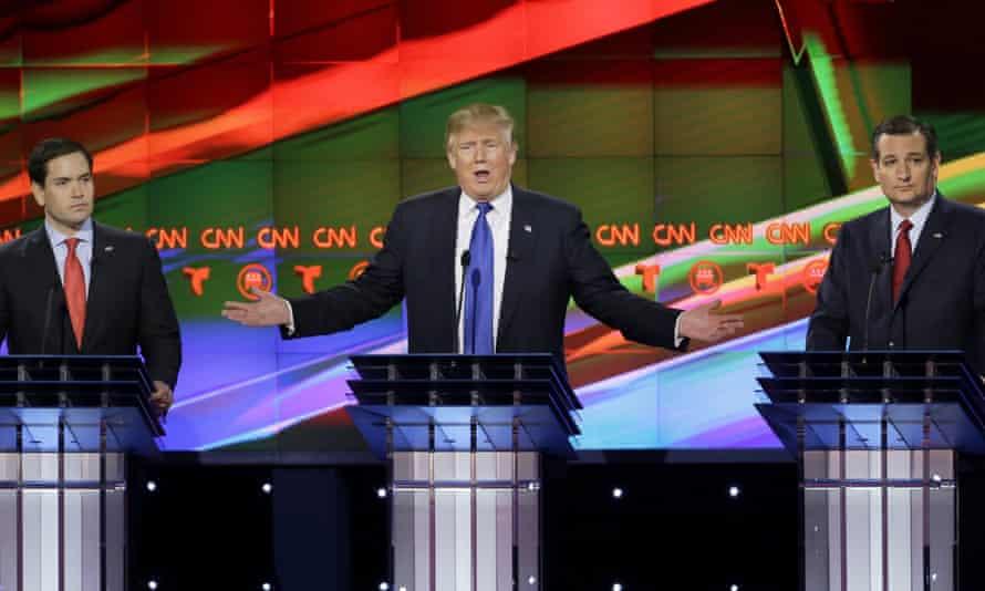 Republican candidates Marco Rubio, Donald Trump and Ted Cruz debate last month in Houston.