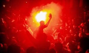 Ajax fans celebrate in Amsterdam<br>epa07539000 Ajax supporters celebrate in Amsterdam, the Netherlands, 30 April 2019, after their team won the UEFA Champions League semi final first leg match against Tottenham Hotspur in London.  EPA/NIELS WENSTEDT