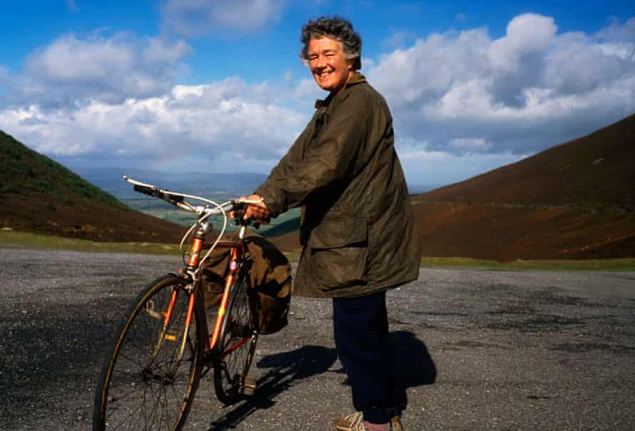 Dervla and her bicycle, in a photograph taken in 2007.