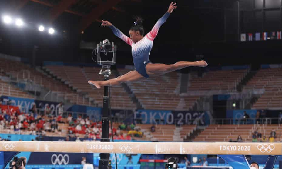Simone Biles during her ray routine in Tokyo on Tuesday
