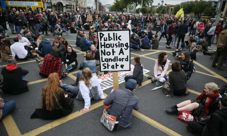 Take Back the City's housing protest on O'Connell Bridge in Dublin.