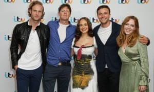 Sanditon stars (l-r) Jack Fox, Kris Marshall, Rose Williams, Leo Suter and Charlotte Spencer