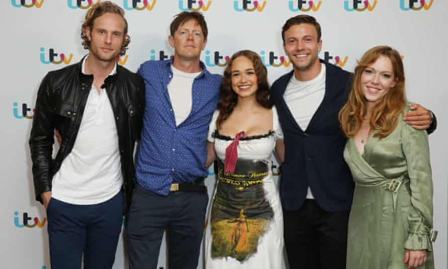 Sanditon stars (l-r) Jack Fox, Kris Marshall, Rose Williams, Leo Suter and Charlotte Spencer