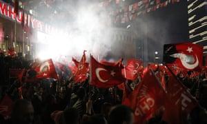 Opposition supporters in Ankara on Sunday night.