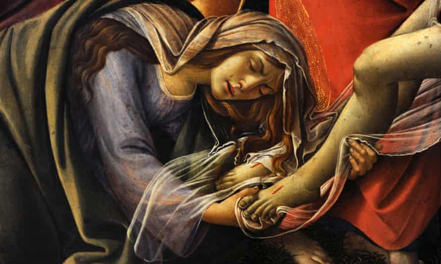 A detail showing Mary Magdalene in Boticelli's Lamentation over the Dead Christ.