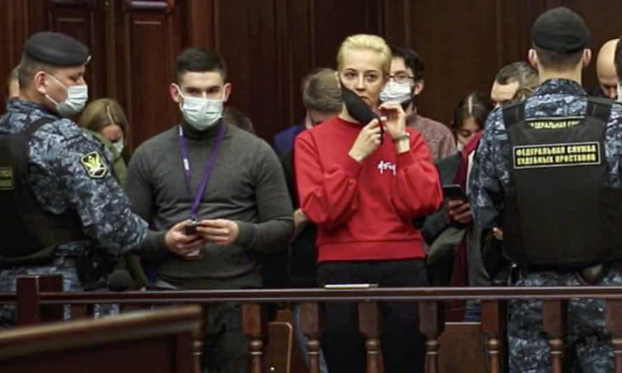 Yulia, the wife of Russian opposition leader Alexei Navalny, at the Moscow City Court last week to hear the sentencing of her husband.
