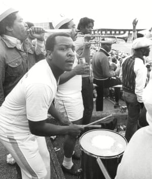 West Indies fans at Old Trafford in the 1984 Test series, when Clive Lloyd's side demolished England 5-0.