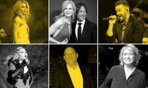 Shakira, Nicole Kidman and Keith Urban, Justin Timberlake, Martha Stewart, Harvey Weinstein and Madonna