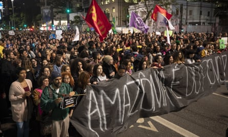 Demonstrators march during a protest in São Paulo.