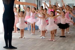 Aley, Lebanon A Russian dance teacher gives a ballet class to girls in the Russian-Lebanese cultural centre