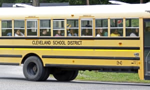 A school bus in Cleveland, Mississippi, where 12% of teens were not in school in 2015.