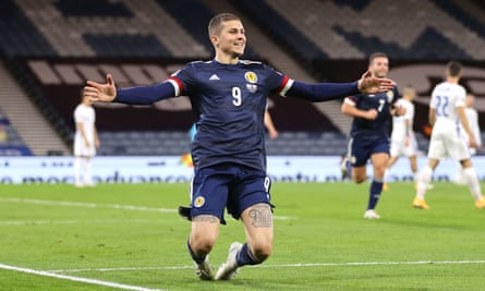 Scotland's Lyndon Dykes celebrates scoring the only goal of Nations League game against Slovakia at Hampden Park