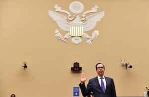 Steven Mnuchin is sworn in as he testifies before the US House select subcommittee on Tuesday.