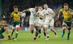 Joe Cokanasiga breaks through but was denied a second try by a Michael Hooper tackle.
