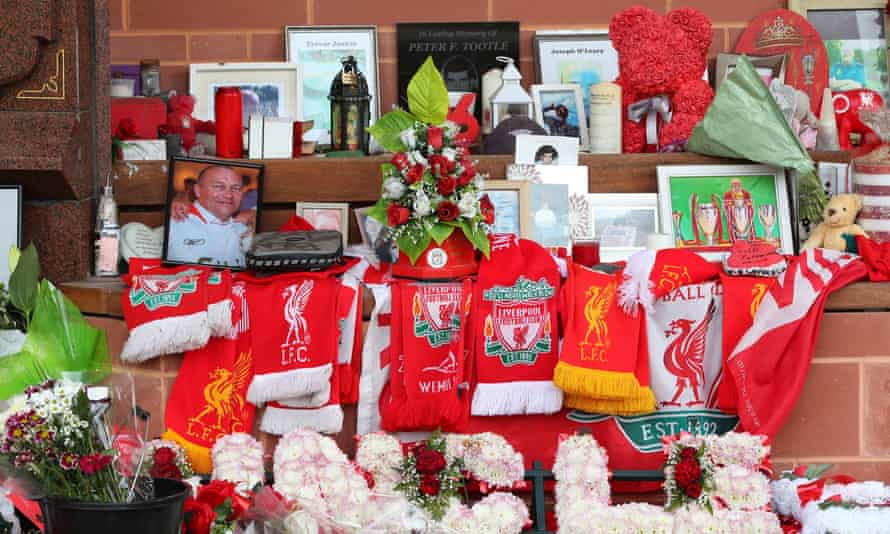 Flowers and tributes at the Hillsborough memorial at Anfield