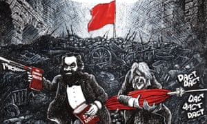 'I was entranced by its playfulness – parts of it are very funny' … illustrations from Martin Rowson's The Communist Manifesto: A Graphic Novel