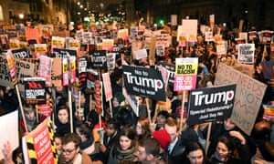 A demonstration at Downing Street against Donald Trump's travel ban