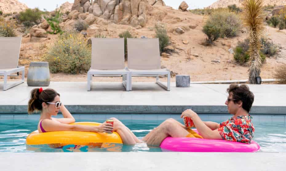 Christin Miloti and Andy Samberg in Palm Springs.