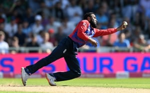 Out! Adil Rashid with a glorious catch off his own bowling to dismiss Rizwan.