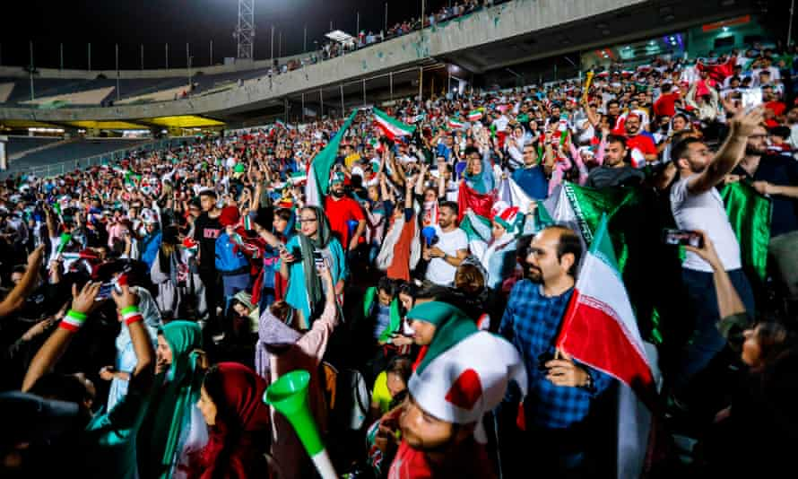 Iranian football supporters during the screening in the Azadi stadium in the capital Tehran.