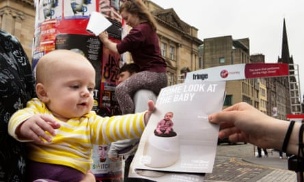 The young star of Come Look at the Baby does a spot of flyering on the fringe.