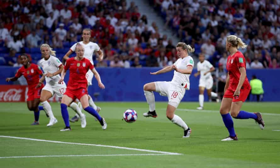 England's Ellen White scores in the World Cup semi-final against the USA