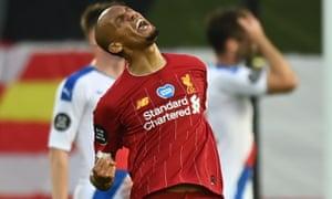 Fabinho celebrates after scoring Liverpool's third goal.