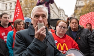 John McDonnell joins a protest by striking McDonald's workers at Downing Street.