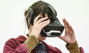 A girl wearing a virtual reality mask