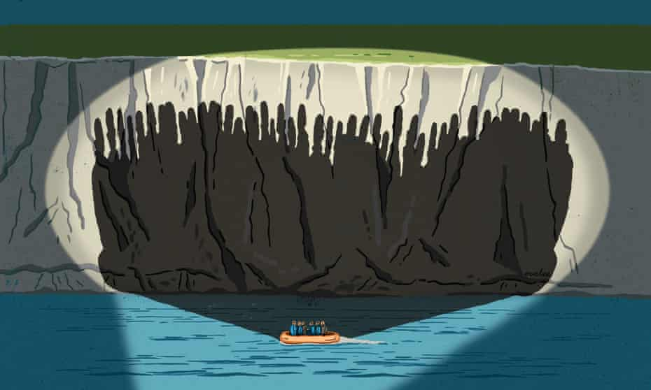 Illustration by Eva Bee of people is a small boat approaching the UK coast.