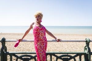 Pink-sequinned diva at Brighton beach