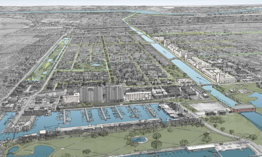 Artist's impression of the Lakeview and Bucktown areas with more wet spaces and parks to help control floods.