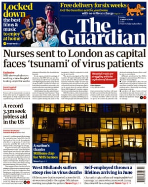 The Guardian front page, Friday 27 March 2020