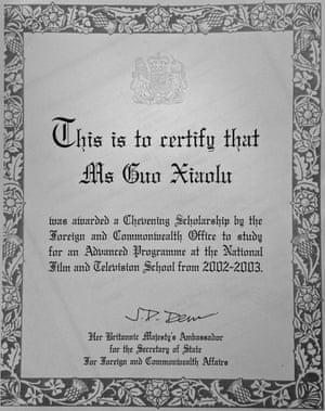 Xiaolu Guo's Chevening scholarship certificate