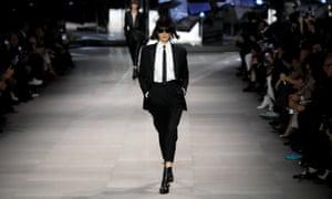 A model presents a creation by the designer Hedi Slimane for Celine in Paris.